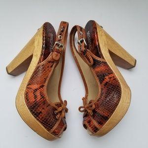 Michael Kors Shoes - Michael Kors Shoes Snakeskin Platform Heels Sz 8.5
